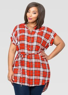 Belted Plaid Hi-Lo Tunic Belted Plaid Hi-Lo Tunic