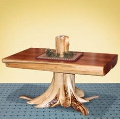 Cedar Grove Half Log Coffee Table With Stump