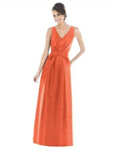 A-line Orange V-neck Floor Length Bridesmaid Dress BD10088 www.dresseshouse.co.uk £78.0000