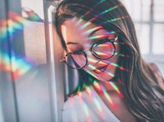 Brandon woelfel portrait prism rainbow lines texture colorful