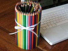 Stay organized with this colorful pencil can. The best part is the pencils on the outside can still be used!