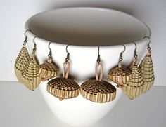 Statement Earrings  nature upcycled cardboard by PaperStatement, $18.50