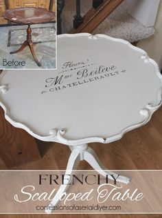 Scalloped Edge Table Updated with French Graphics