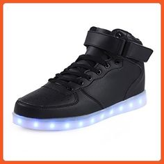 Topteck Unisex Women Men 7 Colors USB Charging Light up Glow Shoes LED Luminous Flashing Lovers Couple Athletic Sneakers for Party Hip-hop Dancing Black - Sneakers for women (*Amazon Partner-Link)