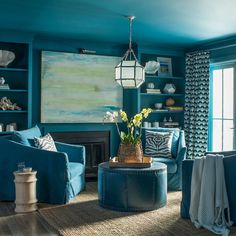 """Benjamin Moore on Instagram: """"Summery colors come to life in this monochromatic living room anchored by Deep Ocean 2058-30, a standout from the Color Preview collection.…"""" Interior Exterior, Home Interior, Exterior Paint, Exterior Design, Room Colors, Wall Colors, Color Walls, Paint Colors, Monochromatic Living Room"""