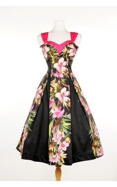 Hawaiian Dress with Petal Bust and Bolero Hot Pink Contrast | Pinup Girl Clothing