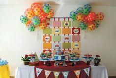 boys birthday party backdrop using scrapbook paper