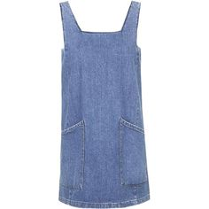 TOPSHOP PETITE MOTO Square Neck Denim Pinafore ($54) found on Polyvore featuring dresses, mid stone, petite and topshop