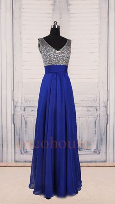 Dark Royal Blue Beaded Long Prom Dresses Bridesmaid by cocohouse