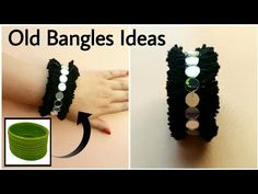Reuse your old bangles to make a new accessory and experiment with colors. Materials Required: Bangles (Use a large one) Wool Mirrors Hot Glue For Business E. Diy Fabric Jewellery, Thread Jewellery, Textile Jewelry, Jewellery Shops, Jewellery Box, Jewellery Making, Jewellery Exhibition, Designer Jewellery, Vintage Jewellery