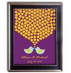 unique wedding reception idea to replace your guest book this lovely piece of art in royal purple with yellow orange may be the answer. This is a gorgeous alternative to a traditional guest book, your guests will leave their signatures or their initials inside the hearts and after the wedding you can turn this work of art into a great interior design decoration