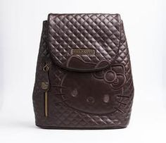 Hello Kitty Real Leather Mini Backpack Brown Quilt