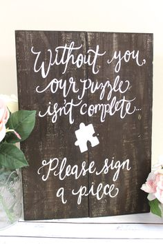 Say something about Jenga instead Wooden Puzzle Guest Book Sign Rustic Wedding by ThePaperWalrus Popcorn Wedding Favors, Wedding Favours Sign, Rustic Wedding Signs, Wedding Souvenir, Nautical Wedding, Rustic Signs, Guest Book Table, Guest Book Sign, Guest Books