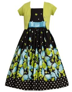 Amazon.com: Size-10, Black, BNJ-9375R, Black/Green Butterfly Border Dress-Sweater Set,Bonnie Jean Tween Girls Special Occasion Party Dress: Clothing