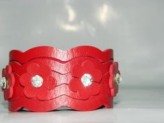 Red Flower Leather Bracelet Leather Cuff Woman by JewelryForWoman, $15.00