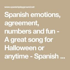 Spanish emotions, agreement, numbers and fun - A great song for Halloween or anytime - Spanish Playground