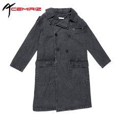 >> Click to Buy << ACEMIRIZ 2017 Spring Autumn New European Women's Loose Gray Denim Coat Jacket Female Long Section Waist Denim Coat H5269 #Affiliate