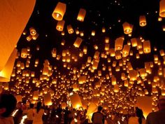Floating Lanterns, Thailand  Photo: National Geographic    I wonder if Tangled got their 'floating lantern' idea from this.