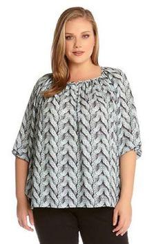 Z.Bella Boutique - Karen Kane Cable Print Shirred Top shopzbella.com  #Plussizefashion #KarenKane