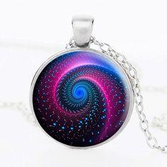 Mandala Glass Yoga Pendant Necklace Galaxy Design