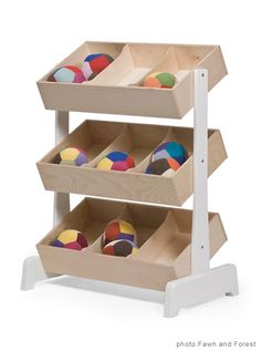 OEUF CLASSIC TOY STORE | $496  This shelf from the modern brand Oeuf displays all your kids' toys so neatly, they'll be able to find exactly what they're looking for and know precisely where to place them when they're cleaning up.