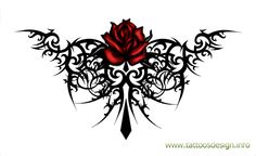 Red Rose Tribal Tattoo