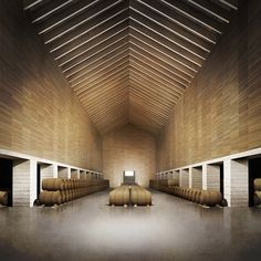 Drawings realized for Emilio Tuñón Architects for the Architectural Ideas Competition of the Benjamin de Rothschild & Vega-Sicilia Winery in Samaniego (Spain). Factory Architecture, Unique Architecture, Space Architecture, Winery Tasting Room, Wine Cellar Design, Brick Construction, Ceiling Design, My House, Interior Decorating