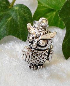 bewegliche EULE UHU Kettenanhänger Silber Vollfigur - owl pendant