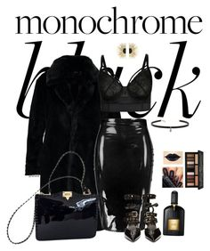 """""""Monochrome:Black- plus size"""" by gchamama ❤ liked on Polyvore featuring Boohoo, Robert Clergerie, Valentino, Aurélie Bidermann, Carbon & Hyde, Tom Ford, Kat Von D and allblack"""