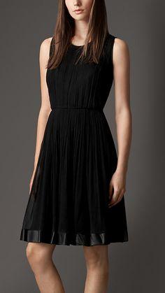 Burberry London Silk Crépon Corset Detail Dress