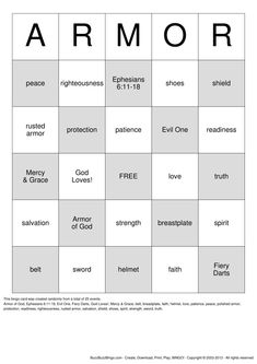 Armour of God Bingo Card