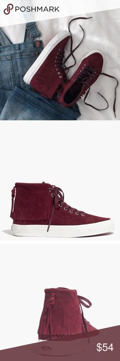 Vans for Madewell high tops woman's size 8 NWT Brand new from Madewell. Tried on but a little loose for my liking. Men's 6 1/2/ woman's 8. This specific size is currently sold out online Adorable and wish they were a half a size smaller. I'm a 7 1/2 but usually size up because I I have a wide foot.  Super fast shipping. Comes from a non smoking/ pet free home.  Color is maroon. Madewell Shoes Sneakers