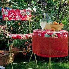 capa de cadeira e mesa em chita