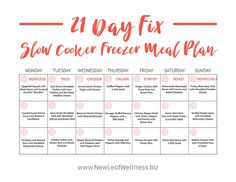 A lot of people have asked me for 21 Day Fix slow cooker freezer meals, so I decided to put together the ultimate 21 Day Fix slow cooker freezer meal plan. Slow Cooker Freezer Meals, Freezer Cooking, Slow Cooker Recipes, Crockpot Meals, 21 Fix, 80 Day Obsession, 21 Day Fix Meal Plan, Make Ahead Meals, 21 Days