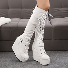 Sexy 15 cm knee high boot w slim heels,size white - Boots Mode Rockabilly, High Heels Plateau, Kawaii Shoes, Frauen In High Heels, Aesthetic Shoes, Fancy Shoes, Martin Boots, Cute Boots, Platform High Heels