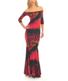Look at this #zulilyfind! Red Animal Off-Shoulder Maxi Dress #zulilyfinds