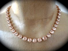 Blush Rose Gold Crystal Necklace - Rose Gold Wedding, Swarovski Crystal, Bridal necklace