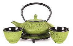 Happy Sales Happy Sales Cast Iron Tea Pot Tea Set Mochi Bamboo Med Green,, Green. Content: 1 Teapot, 2 Teacups, 1 Trivet Stainless Steel Teapot Strainer Included Enamel coating to prevent rusting Capacity: Teapot: 18 fl.oz, Teacup: 3.5 fl.oz Dimension: Teapot 6-1/4 in Dia x 3-1/2in H ONLY 7 LEFT IN STOCK (Aug, 2016)