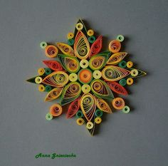 spring quilling ornaments by Anna Gnieciecka Paper Quilling Earrings, Paper Quilling Flowers, Paper Quilling Tutorial, Quilling Work, Paper Quilling Patterns, Quilled Paper Art, Quilling Paper Craft, Paper Crafts Origami, Paper Quilling For Beginners