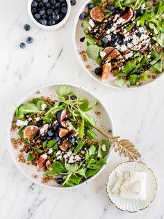 Linzensalade met vijgen en feta • Gewoon Hanne Couscous, Cobb Salad, Feta, Lunch, Ethnic Recipes, Drinks, Drinking, Beverages, Eat Lunch