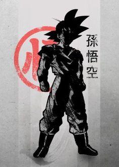 anime manga japanese japan cool vintage hair super saiyan killer hero goku gohan kun chan crow inkinking simple minimal son red black white inking ink