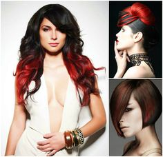 Two Tone Ombre Hair #black #red