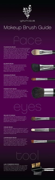 Younique, home of the fiber fiber lash mascara. Ever wonder what each makeup brush is for? This infographic tells you the purpose of each brush and some great makeup application tips. Beauty Makeup, Eye Makeup, Hair Makeup, Makeup Mascara, Beauty Lash, Hair Beauty, Airbrush Makeup, Flawless Makeup, Gorgeous Makeup