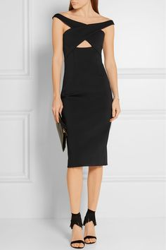 EXCLUSIVE AT NET-A-PORTER.COM. Update your eveningwear capsule with Cushnie et Ochs' black neoprene dress. Designed in the season's off-the-shoulder silhouette, this figure-skimming style is finished with a cutout that draws the eye directly to your narrowest part. Wear it with statement sandals and pared-back accessories.