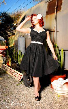 Pinup Couture - Heidi Dress in Black Pin Dot | Pinup Girl Clothing
