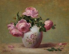 """Pink Roses in Porcelain Vase""11"" x 14"" Oil -   Artist:  Elizabeth Robbins Gallery:  RS Hanna Gallery - Fredericksburg, Texas"