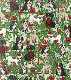 Holiday Inspirations Fabric- Christmas Puppies & Pine
