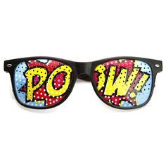 Wayfarer POW Pop Art Mesh Print Horned Rim Glasses
