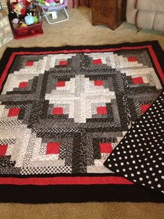 Black White Red Log Cabin Quilt