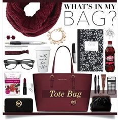 Whats in my bag? by ambacasa on Polyvore featuring MICHAEL Michael Kors, HOBO, Forever 21, BCBGMAXAZRIA, CellPowerCases, Monki, Lancôme, Too Faced Cosmetics, Smashbox and Dot & Bo